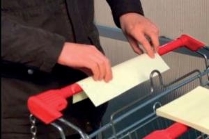 Lipnūs lapeliai: vežimėlių ir pirkinių krepšelių apsauga